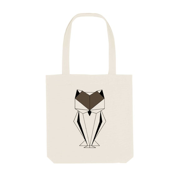 Tote Bag Owl / Organic Cotton / Organic Ink / Designed in France / Original Gift Idea / Geometric Animal / Beach Bag