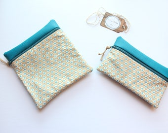 """Soft light"", reusable and waterproof Pouch Pocket, convenient for travel, laminated cotton fabric and faux leather."