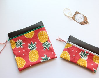 """Improvised picnic"" pouch, reusable and waterproof, clutch bags, travel, practical, coated fabrics and faux leather"