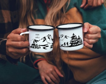 Personalized Gift Boyfriend Elopement Gift Camping Gift Campfire Mug Hiking Gift Custom Mug - Hikers With Dog // ONE Double Sided Mug