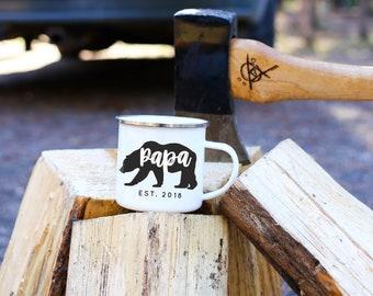 Papa Bear Mug Fathers Day Gift Dad Gift For Dad Enamel Mug Camping Mug New Dad Gift Papa Bear Campfire Mug Ceramic Mug  // 4 STYLES