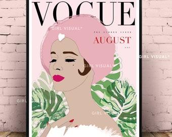 Vintage Vogue Print Poster Pink Fashion Wall Decor Illustration Cover Art