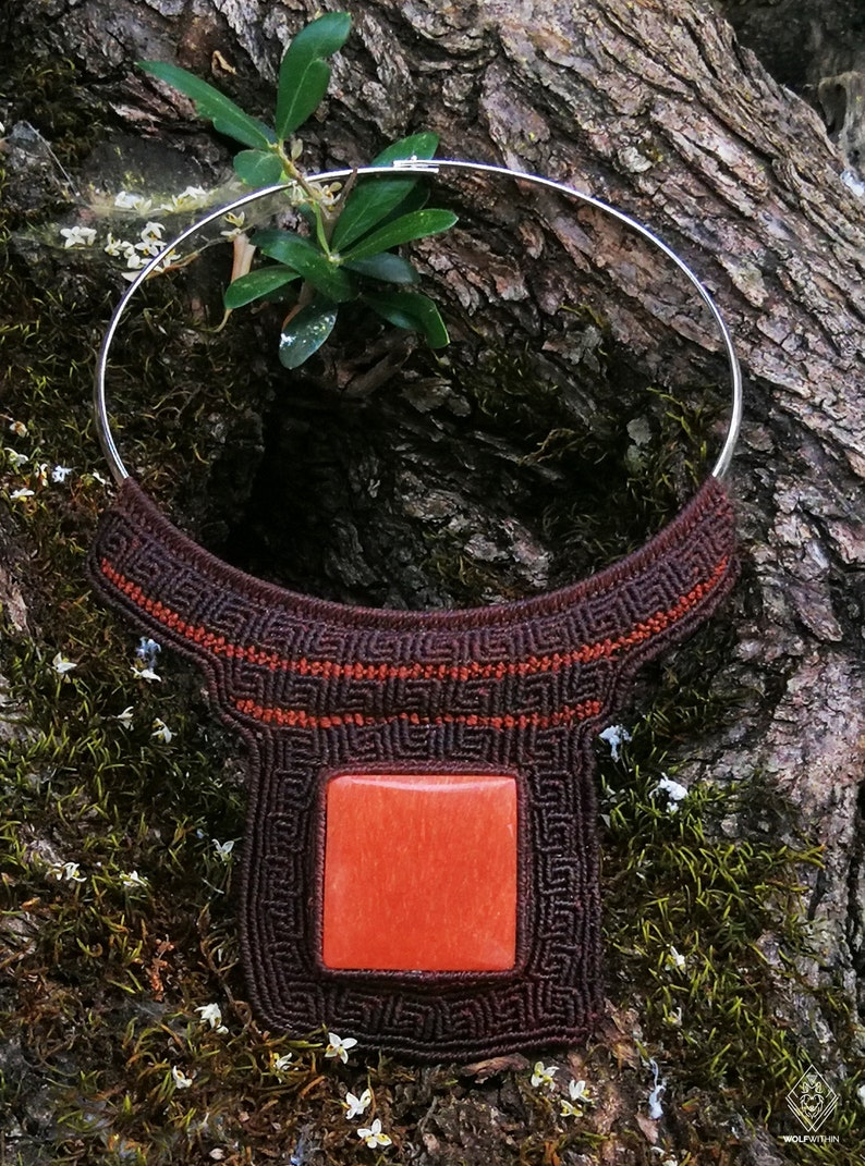 Macrame Chocker Tribal design necklace with Red Jasper gemstone Metal Choker Necklace Micromacrame Handcrafted Tribal Necklace.