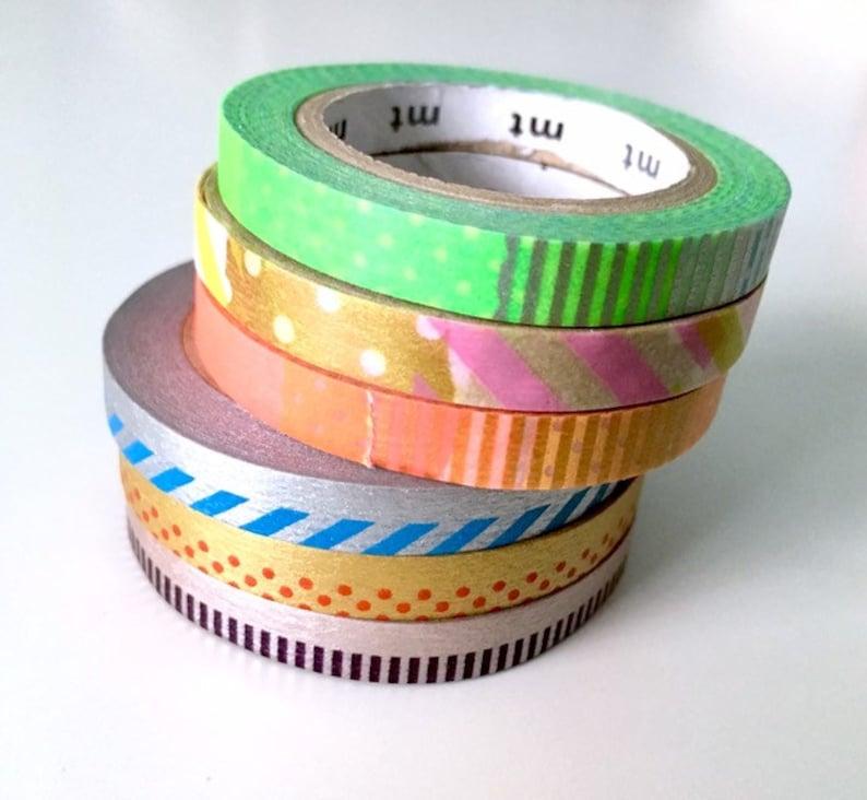 SAMPLES 18 MT Skinny tapes metallic neon blue green orange yellow purple gold silver bronze red washi bujo planner tape 18