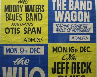Vintage Music Art The Who - Jeff Beck - Muddy Waters The Pavilion Bath  0643