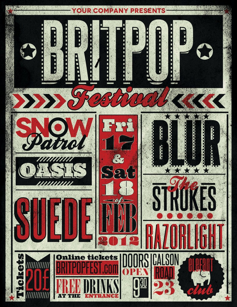 Vintage Music Art Poster Brit Pop Festival Blur Oasis | Etsy