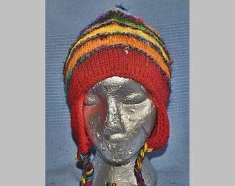 f61123aa4ed Unisex Mens Womens Fleece Lined Festival Wool Woollen Beanie Bobble Ear  flap Peruvian Nepal Hippy Festival Hat - Rainbow