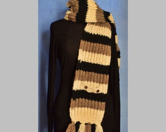 a7f48031c73 Unisex Hand Knitted Wool Woollen Nepal Natural Undyed Ethical Eco Boho  Outdoor Winter Dr Who One Off Hippy Festival Scarf Scarves - S2