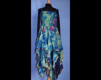 Petite Unique Recycled Silk Handkerchief Stevie Nicks Sleeveless  Hippy Gothic Fairy Dress pinkreds UK ladies 4-14 US 1-10 /& Youth