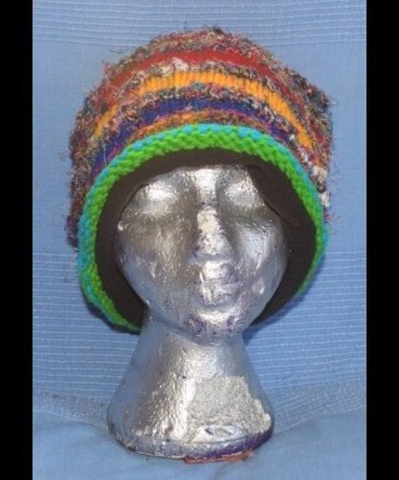 Shabby Chic Hippy Boho Knitted Beanie Hats Handmade One Size Festival