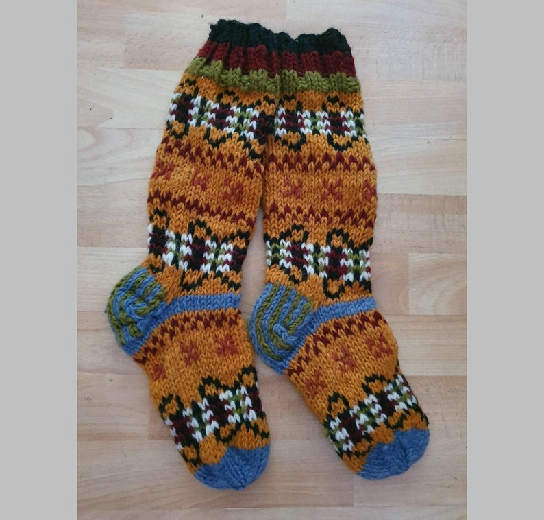 1 rust multi Hand knitted Handcrafted Wool Welly Wellington Boot Hippy Festival Colourful Bed Slipper Socks Unusual Christmas Gift