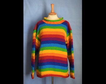 Unisex Hand knitted Pure Wool Jumper Sweater Pullover from Nepal - Rainbow wool