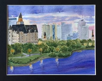 Watercolor Painting, River, City Skyline, Saskatoon, Saskatchewan River, Original Art Landscape, Bessborough Hotel
