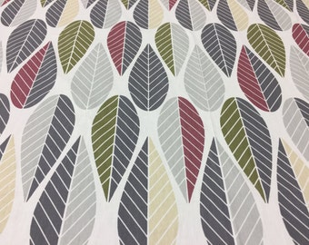 Scandinavian fabric  cotton fabric with white gray khaki beige striped leaves modern style