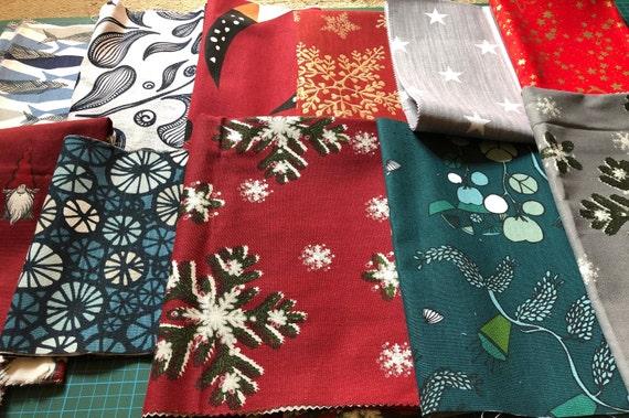 Petite Christmas Trees fabric Pack remnants patchwork bundle 100/%cotton