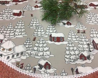 Christmas tree skirt, Christmas Holiday tree skirt,grey Christmas tree skirt with snow-covered houses, Gift