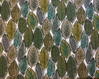 Scandinavian design upholstery fabric,  fabric with leaves, white fabric with green grey beige leaves, stylized leaves fabric