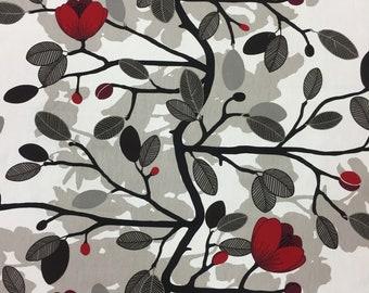 Scandinavian cotton Fabric Magnolia Blossom, elegant red floral fabric, gray black leaves, modern fabric