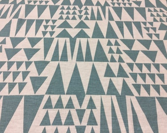 Linen fabric turquoise and white with triangle, modern style