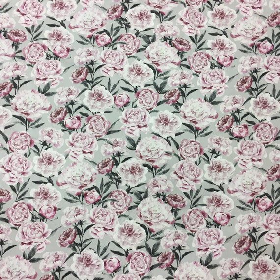 Scandinavian fabric satin fabric wide 59 inches Cotton fabric White fabric with digital color print modern fabric