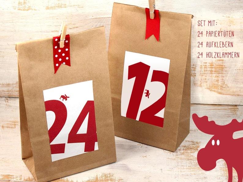 Weihnachtskalender Elch.Adventskalender Zum Befüllen Elch 24 Tüten Mit Boden Zahlen Klammern Kraftpapiertüten