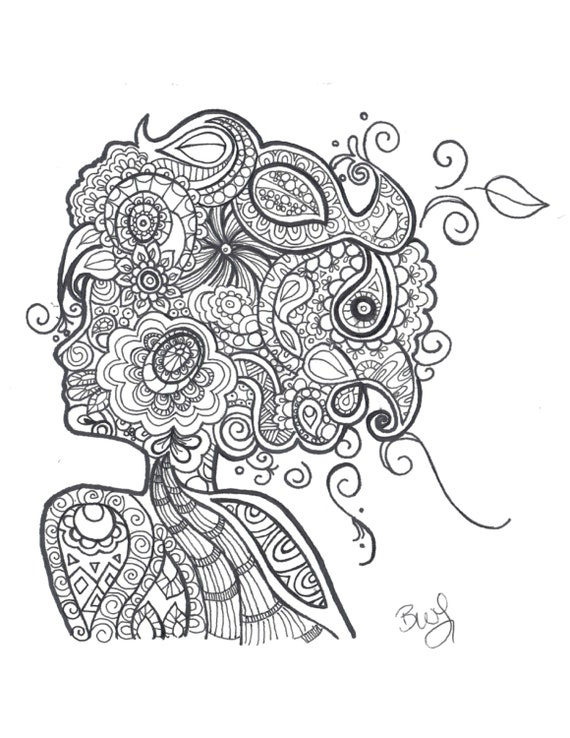 Zentangle Mural Black And White Because Of A Woman Mandala Hand Drawn Adult Coloring Pages Zentangle Untangled Printable Coloring Sheet