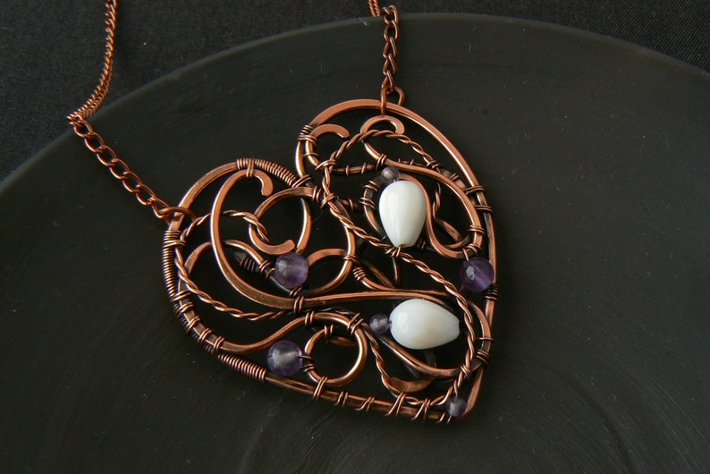 Copper heart necklace Wire wrapped necklace Amethyst mother of pearl necklace