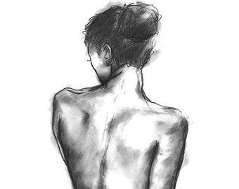 Female form. Digital print from original hand drawn illustration