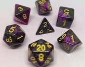 Freeze-dried space garbage - Magenta and black glitter polyhedral dice for D D, Pathfinder, RPG gaming