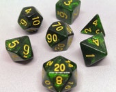 Illudium Q-36 - Dark green glitter polyhedral dice for D D, Pathfinder, RPG gaming