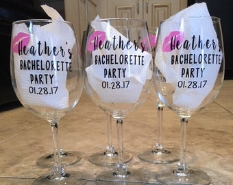 Bachelorette Party, Bridesmaid Wine Glass, Bachelorette Gift, Bridesmaid Gift, Custom Wedding, Bride to Be, Bridal Party, Bachelorette