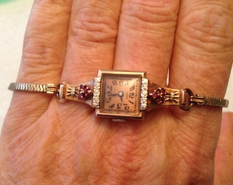 Antique Louis 14 K solid rose gold ruby ladies watch