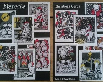 English Bull Terrier Christmas Cards