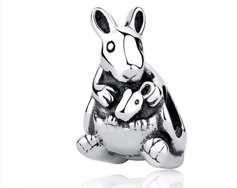 c579da495 Kangaroo and Baby Charm, 100% Real 925 Sterling Silver, Fits Pandora,  Famous European Snake Chain Bracelets, DIY Jewelry