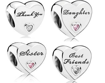 0e92e506e THANK You, DAUGHTER, SISTER, Best Friends Heart Bead Charm, 100% Real 925  Sterling Silver, Fits Pandora, Snake Chain Charm Bracelets, DiY