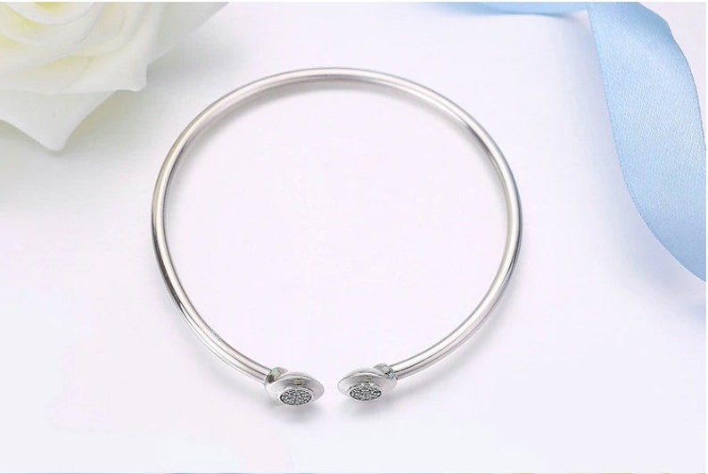 Fashionable DiY Jewlery 925 Sterling Silver Fits European Snake Chain Clasp Charms OPEN BANGLE With CZ Accessories
