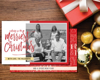Merriest Christmas Printable Photo Christmas Card. Two-sided. Red, White and Gold. Holiday Card.