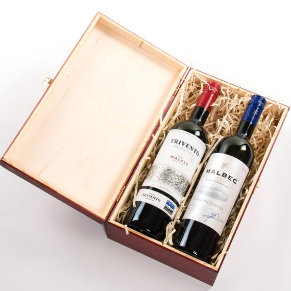 Wooden Wine Box Wine Gift Box Double Bottle Double Wine Box Presentation Box Wine Box With Metal Clasp Champagne Gift Box Gift Box