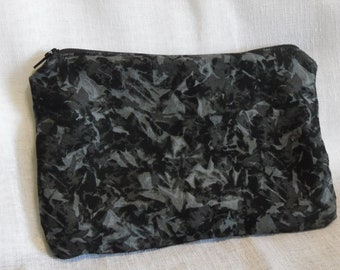 Black Grey Abstract Camo Pencil Makeup Bag Pouch with Zipper