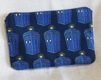 Tardis Doctor Who Pencil Makeup Bag Pouch with Zipper