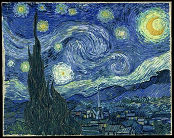 The Starry Night by Vincent Van Gogh Stretched Canvas Framed Print - Wall Art