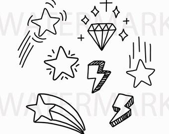 Stars Thunder Lightning Diamond Throwing Star And Falling