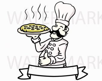 Pizza Logo with Bow - SVG/PNG/JPG Hand Drawing - Instant Download
