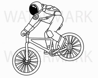 Astronaut Riding a Bike on Mountain Bike - Hand Drawing SVG/JPG - Instant Download