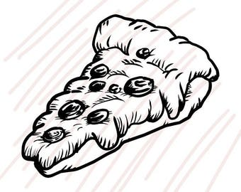 80 A piece of Pepperoni Pizza Hand Drawing SVG/JPG Black/White - Instant Download