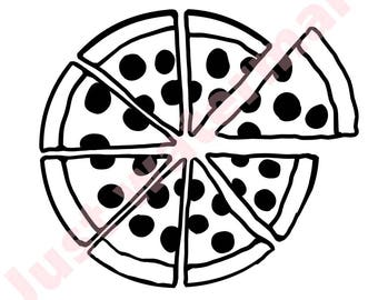 SVG/JPG Pepperoni Pizza Hand Drawing