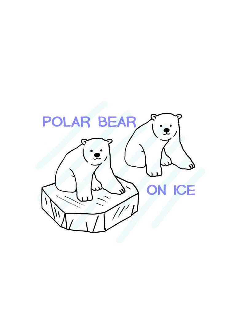 863 Polar Bear Cub On Ice And No Ice Version Included Svgjpg Hand Drawing Instant Download
