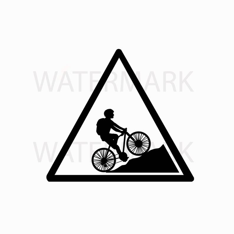 Bike Sign - Mountain Bike - Bike Club Triangle Design - JPG PNG SVG - Hand  Drawing Image - Digital files Instant Download