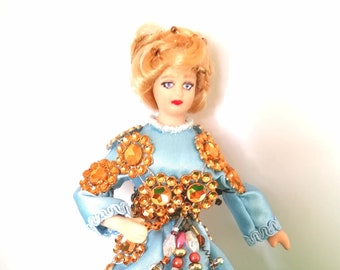 OOAK 12th scale Dollhouse Female Figure - Blonde Poseable Porcelain Lady Doll in Period costume - Upcycled Dolls' House Woman in Regal Dress