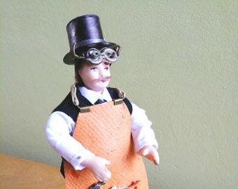 Steampunk Dollshouse Miniature Male Figure - 12th Scale Steampunk Tinker - OOAK Man Dollhouse Doll - Upcycled Poseable 12th scale Figure